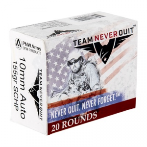 Team Never Quit Self Defense Ammo 10mm Auto 155gr Schp