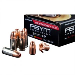 Asym Precision Ammunition Solid Defense X Ammo 9mm Luger +p 115gr Tac-Xp