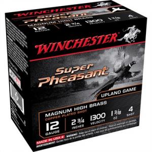 "Winchester Super Pheasant Ammo 12 Gauge 2-3/4"" 1-3/8 Oz #4 Shot"