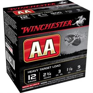 "Winchester Aa Heavy Target Ammo 12 Gauge 2-3/4"" 1-1/8 Oz #9 Shot"
