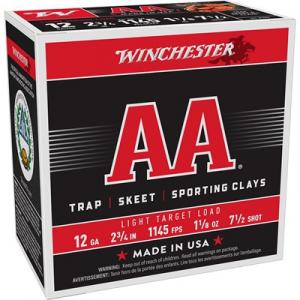 """Winchester Aa Light Target Ammo 12 Gauge 2-3/4"""" 1-1/8 Oz #7.5 Shot"""