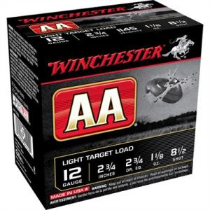"""Winchester Aa Light Target Ammo 12 Gauge 2-3/4"""" 1-1/8 Oz #8.5 Shot"""
