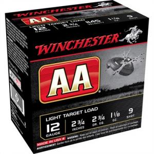 """Winchester Aa Light Target Ammo 12 Gauge 2-3/4"""" 1-1/8 Oz #9 Shot"""