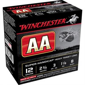 "Winchester Aa Super Handicap Ammo 12 Gauge 2-3/4"" 1-1/8 Oz #8 Shot"