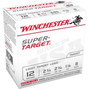 """Winchester Super Target Ammo 12 Gauge 2-3/4"""" 1-1/8 Oz #8 Shot"""