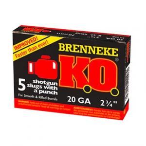 """Brenneke Usa K.O. Ammo 20 Gauge 2-3/4"""" 3/4 Oz Slug"""
