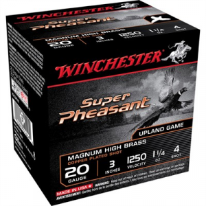 "Winchester Super Pheasant Ammo 20 Gauge 3"" 1-1/4 Oz #4 Shot"