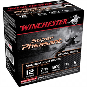 "Winchester Super Pheasant Ammo 12 Gauge 2-3/4"" 1-3/8 Oz #5 Shot"