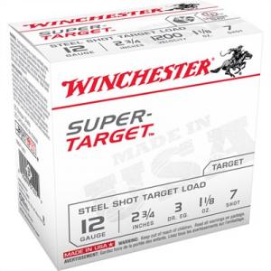 """Winchester Super Target Ammo 12 Gauge 2-3/4"""" 1-1/8 Oz #7 Shot"""