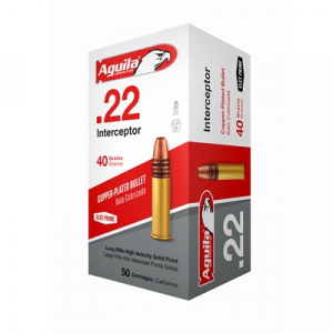 Aguila Interceptor Ammo 22 Long Rifle 40gr Copper Plated Round Nose