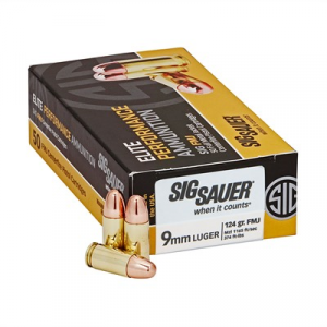 Sig Sauer Elite Ball Ammo 9mm Luger 124gr Full Metal Jacket