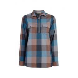 Demo,Woolrich Women's Any Point Convertible Flannel Shirt, Mountain Blue Multi, M