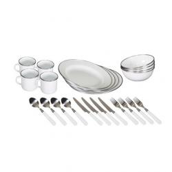 Stansport Deluxe Enamel Camping Tableware Set, 24 Pieces, Green