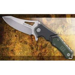 Lansky Sharpeners Responder Quick Action 3.5in. 440C Stainless Blade Knife, Black/Green Handle