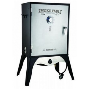 camp chef smoke vault food smoker, 24in. c- Save 18% Off - Camp Chef Backpacking Stoves Smoke Vault Food Smoker 24in. C SMV24S. This simple smoker cooks your meat low and slow with a heavy-gauge steel wood chip try and water pan to infuse it with a delicious flavor you can't get any other way. You can also use the Smoke Vault for a variety of foods from ribs to whole turkey or even baked pies. This vault features fully adjustable heat-control dials three damper valves and a door thermometer that will help you control internal temperatures throughout the cooking process. Temperatures can vary from 160 degrees to 400 degrees Fahrenheit.