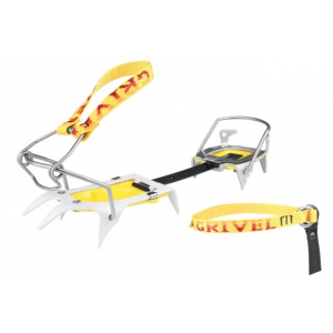 grivel skimatic 2.0 ski boot crampons - ski tour- Save 10% Off - Grivel Alpine & Ice Climbing Skimatic 2.0 Ski Boot - Ski Tour 756660. 0 binding solves the problem of fitting modern ski boots where the rear 'walking adjusment' on the boots interferes with the closure of the crampon. The innovative and low-profile tow leaver bail locks solidly in place. Ski Tour crampon has steel front points with light weight alloy heal. The ultralight Ski Race crampon has alloy front points and alloy heal. Includes crampon storage bag.