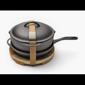 barebones cast iron kit, 12in- Save 20% Off - Barebones Camp & Hike Cast Iron Kit 12in CKW323. Our crock pot has a triple sanded smooth cooking surface rounded bottom for easy scooping and scraping and a lid that also fits on the skillet. The kit is complete with a wood trivet to keep the heat off of your table. Features/Specifications: Dual pour spouts. Interchangeable lid. Comfort grip handle. Trivet. Chain mail cleaner. Included Accessories: Crock skillet belt chain mail wood trivet
