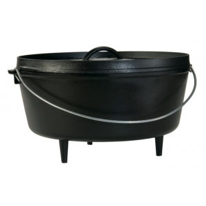 lodge deep camp dutch oven, 14 in / 10 quart- Save 10% Off - Lodge Camp & Hike Deep Camp Dutch Oven 14 in / 10 Quart L14DCO3. The flanged lid holds hot coals and inverts for use as a griddle. The integral legs allow the oven to sit perfectly over hot coals. The bail handle is for use with a tripod. Includes Camp Dutch Oven Cooking 101 cookbook. Features/Specifications: Seasoned with oil for a natural easy-release finish that improves with use Easy care: hand wash dry rub with cooking oil The right tool to sear simmer braise bake or fry over a camp fire At home in the backyard the backwoods or the ballgame. Includes Camp Dutch Oven Cooking 101 a 56-page illustrated guide Unparalleled heat retention and even heating. Brutally tough for decades of cooking. Tight fitting lid seals in moisture for enhanced flavors.