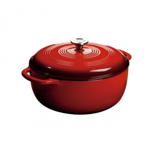 lodge dutch oven, red, 7.5 quart- Save 10% Off - Lodge Camp & Hike Dutch Oven Red 7.5 Quart EC7D43. The 1.5 quart capacity is perfect for side dishes desserts or even an entree for two Features/Specifications: Broil braise bake or roast in the oven up to 500degr. FSaute simmer or fry on any stovetopThe right tool to marinate refrigerate cook and serveUnparalleled in heat retention and even heatingSmooth glass surface won't react to ingredientsRims are black matte enamel cooking surface is off-white enamelStainless steel knobGreat for induction cooktops