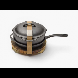 barebones cast iron kit, 10in- Save 20% Off - Barebones Camp & Hike Cast Iron Kit 10in CKW325. Our crock pot has a triple sanded smooth cooking surface rounded bottom for easy scooping and scraping and a lid that also fits on the skillet. The kit is complete with a wood trivet to keep the heat off of your table. Features/Specifications: Dual pour spouts. Interchangeable lid. Comfort grip handle. Trivet. Chain mail cleaner. Included Accessories: Crock skillet belt chain mail wood trivet