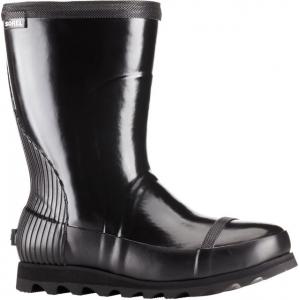 Sorel Joan Rain Short Gloss Rubber Boot - Women's-Black/Sea Salt-Medium-9