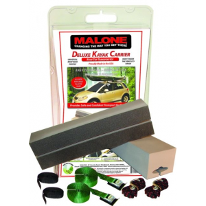 malone deluxe kayak kit w/ 18 in foam blocks- Save 9.% Off - Malone Car Racks Deluxe Kayak Kit w/ 18 in Foam Blocks MPG152. The 18in blocks feature a universal cut-out profile that fits round square and oval load bars. Includes two 15ft load straps and safety tie-downs. made in specialized factories with the finest EVA closed cell foam. Features/Specifications: Features:. 18in long foam blocks to transport most kayaks. Two load straps for a confident transport. Two block straps to capture and prevent side to side movement. Safety tie-downs to fully ensure a safe installation . Travel tote holds the kit when not in use. One year warranty . Weight: 3.3 lb. Length: 18in (per block). Width: 4.75in (per block). Height: 3.75in (per block). Load capacity: 55 lb Included Accessories: . (2) 18 Foam Blocks. (2) 15' Cam Buckle Load Straps. (2) 10' Cam Style Block Straps. (2) Bow and Stern Lines. (1) Reusable Storage Tote. (1) Instruction Manual