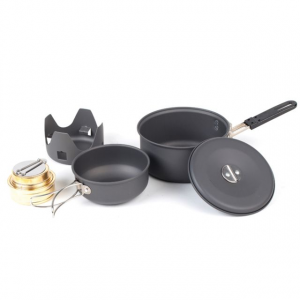 ndur mini cookware kit with alcohol burner- Save 25% Off - NDuR Alchohol & Solid Stoves Mini Cookware Kit With Alcohol Burner 11722400. Made of Anodized Aluminum it is extremely lightweight and easy to clean. It comes with a mesh carrying pouch. The surface treatment is FDA and LFGB food safety approved.