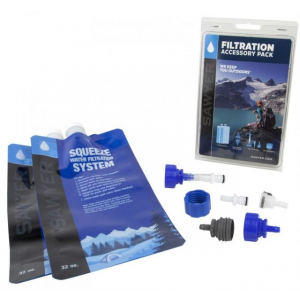sawyer filtration accessory pack- Save 20% Off - Sawyer Camp & Hike Filtration Accessory Pack SP118. It includes two 32oz. Squeeze Pouches to use as back-ups or just to have on hand as additional reservoirs the Fast Fill Adapters so you can fill your hydration pack directly from the Squeeze or Mini Filter Inline Adapters to turn your Squeeze filter into an inline system on a hydration pack and the Cleaning Coupling a new adapter that allows you to backwash your Squeeze Filter with a plastic bottle.