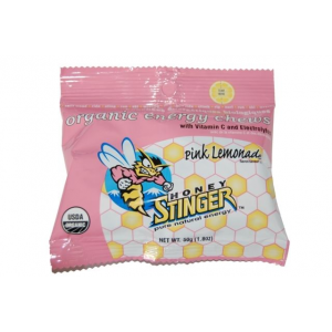 honey stinger organic energy chews-pink lemonade- Save 33% Off - Honey Stinger Camp & Hike Organic Energy Chews-Pink Lemonade 72512. Honey Stinger Organic Energy Chews are unique as they are the first to include naturally occurring fiber and protein derived from 100percent organic tapioca syrup and honey (Lime-Ade chews are 95percent organic). Made with USDA certified Organic ingredients. Gluten-free dairy-free non-GMO ingredients. 0g Trans Fats and no partially hydrogenated oils. 100percent RDA Vitamin C along with 1g protein and 1g fibre per package. Adults and kids love them