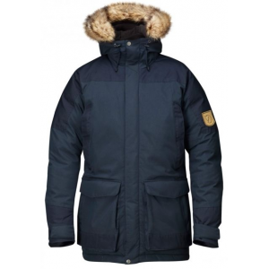 fjallraven kyl parka - men's-dark navy-x-large- Save 36% Off - Fjallraven Men's Apparel Clothing Kyl Parka - Men's-Dark Navy-X-Large F80649555XL. A practical winter garment when the weather is changeable the down padding warms even in extreme cold while the Hydratic membrane keeps sleet and rain out. Made from polyamide with G-1000 reinforcements in exposed places. The fixed hood has a three-way adjustment and is lined with soft fleece. There is a ribbed collar at the neck. There is also a detachable fur edging around the face and a reflective band on the back of the hood. Many practical pockets including two large top-loading pockets with smaller pockets over then and two fleece-lined hand-warming pockets. There are two large mesh pockets inside and two inner pockets one with a zipper and the other with a press button. The jacket opening has a two-way zipper with protective flap Velcro and press buttons. Drawcord at the back of the waist and hem. Sleeve cuffs have Velcro adjustments and inner elasticated cuffs with thumb holes.