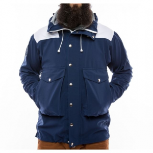 the american mountain co. no. 907 high-altitude hardshell jacket - men's-navy blue-x-large- Save 26% Off - The American Mountain Co. No. 907 High-Altitude Hardshell Jacket - Men's-Navy Blue-X-Large. 907 High-Altitude Hardshell Jacket provides a storm ready refuge for high altitude expeditions by bringing together the most advanced components while adhering to uncompromising standards of quality and classic design. The Schoeller c-change textile with a robust outer face combines unparalleled breathability waterproof protection and durability. The soft hand of the textile is quiet while the two-way stretch and meticulous fit allow for unmatched freedom of movement. The No. 907 features a helmet compatible hood double layer shoulders and elbows for increased durability and double adjustment point draw cord waist closure. This hardshell was created to meet the most extreme and demanding conditions you will encounter in the mountains.