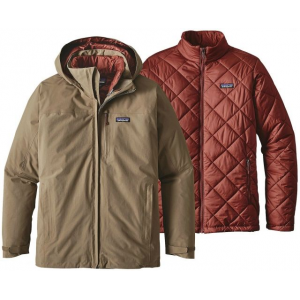 patagonia windsweep 3-in-1 jacket - men's -ash tan-x-large- Save 15% Off - Patagonia Men's Apparel Clothing Windsweep 3-in-1 Jacket - Men's -Ash Tan-X-Large 28090ASHTXL. Adaptable to the full range of mountain or town weather it provides exceptional performance in three ways. You can wear just the shell for rain protection; just the liner as a lightweight insulated midlayer; or wear all three together for a warm insulated waterproof/breathable jacket that cuts through snow and cold. We make the H2No Performance Standard shell from a 2-layer blend of 80percent nylon/20percent polyester. It has a waterproof/breathable barrier and a DWR (durable water repellent) finish to manage moisture both inside and out. A wicking mesh liner adds comfort versatility and a smooth glide when used in tandem with additional layers. The helmet-compatible 2-way-adjustable hood has a drop-collar design for exceptional coverage without impeding visibility. Interior storm flaps cover the front zipper and create a zipper garage at the chin which is lined with microfleece for skin-friendly comfort. Lightweight and compressible the zip-out liner features 150-g Thermogreen insulation for warmth; a windproof 100percent recycled polyester taffeta shell with a DWR (durable water repellent) finish; and diamond quilting to increase heat-trapping efficiency. Pockets on the shell include two handwarmers and one chest pocket that close with watertight slim zips to reduce bulk and weight. Liner pockets include two handwarmers (lined with soft microfleece for comfort) and an interior security pocket for valuables. The zip-out jacket attaches to the shell easily with center-front zippers and snap-loops at cuffs and back of neck. Hip length.