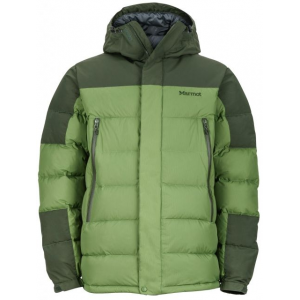 marmot mountain down jacket - men's-alpine green/winter pine-large- Save 33% Off - Marmot Men's Apparel Clothing Mountain Down Jacket - Men's-Alpine Green/Winter Pine-Large. The zip off hood has an effective draw cord adjustment and Marmot Angel Wing Movement.