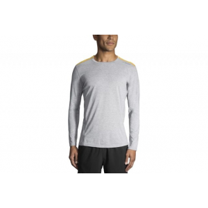 brooks men's distance long sleeve running shirt, heather sterling/heather finch, medium, 030- Save 25% Off - Brooks Men's Distance Long Sleeve Ning Shirt Heather Sterling/Heather Finch Medium 030. The Brooks Distance Long Sleeve Running Shirt features odor-resistant fabric and a relaxed fit to keep you totally comfortable while you power through any workout.
