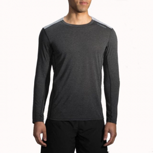 brooks distance long sleeve running shirt - men's-heather black/heather sterling-large- Save 25% Off - Brooks Distance Long Sleeve Ning Shirt - Men's-Heather Black/Heather Sterling-Large. The Brooks Distance Long Sleeve Running Shirt features odor-resistant fabric and a relaxed fit to keep you totally comfortable while you power through any workout.