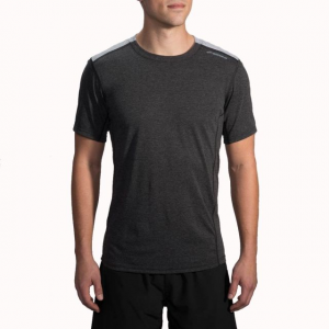 brooks distance short sleeve running shirt - men's-heather black/heather sterling-large- Save 25% Off - Brooks Distance Short Sleeve Ning Shirt - Men's-Heather Black/Heather Sterling-Large. The men's Distance Short Sleeve Running Shirt features odor-resistant fabric and a relaxed fit to keep you totally comfortable while you power through any workout.