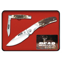 Bear & Son Cutlery 2 Piece Tin Set of Folding Knives with Stag Delrin Handle, 420 SS Blades, 4in and 2.85in Closed Blade