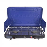 Stansport 2 Burner Stove - Piezo - with Drip Pan, Blue
