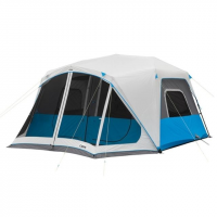 Core Equipment Lighted 10 Person Instant Cabin Tent w/Screen Room, Green/Gray, 14 x 14.5 ft