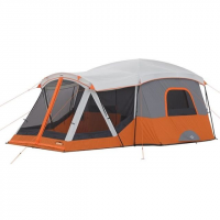 Core Equipment 11 Person Cabin Tent w/ Screen Room, Orange/Gray, 17 x 12 ft