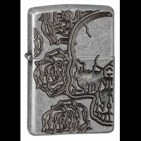 Zippo Armor Skull and Flowers, Antique Silver Plate