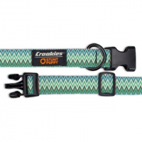 Croakies Dog Collar, Medium, Ziggy Seagrass, Green, Medium, 90 Day Manufacturer Warranty
