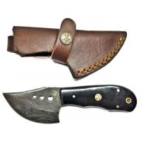 Titan Damascus Stainless Steel Knife 6.2in w/ Bull Horn Handle TD-029