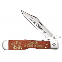 Case Embellished Smooth Chestnut Bone Folding Knife, 4.375in, 6111 1/2L SS, Clip Point, Christmas ADE, Brown