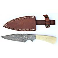 Titan Damascus Steel Hunting 9.5in Knife Camel Bone Handle TD-017