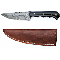 Titan Damascus Steel Fixed Knife 8in Bull Horn Skinny Handle TD-028