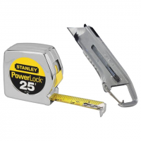 Stanley 25ft Tape/Utility Knife Combo, Silver