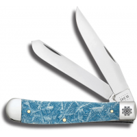 Case Embellished Natural Bone Christmas Ice Trapper Folding Knife w/Gift Tin, Blue
