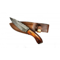 Titan International Knives Damascus Drop Point Fixed Blade Hunting Knife, 8 inch