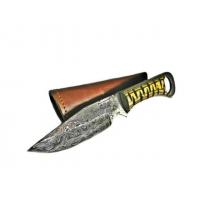 Titan International Knives Damascus Diamond Wood Steel Fixed Blade Knife, 8 inch